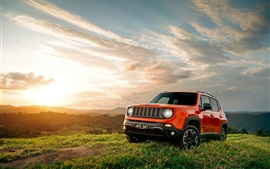 Preview wallpaper Jeep Renegade, red color, grass, sunset