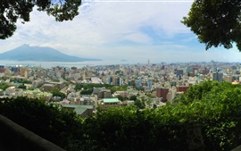 Preview wallpaper Kagoshima Shiroyama Park top view the city, Japan