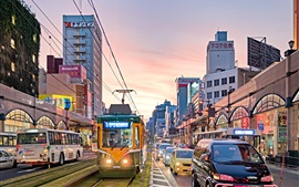 Preview wallpaper Kagoshima city, Japan, dusk, street, road, buildings, lights