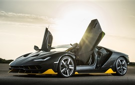 Preview wallpaper Lamborghini Centenario black Coupe, doors opened, sun rays