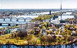 Latvia, Riga, city, houses, river, bridge, trees