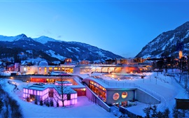 Lindner Alpentherme in winter, dusk, snow, mountain, lights, Switzerland