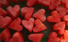 Love hearts shaped watermelons