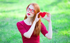 Preview wallpaper Lovely girl, red dress, posture, glasses, love hearts