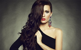 Preview wallpaper Makeup fashion girl, red lips, long hair, earrings, shoulder black dress
