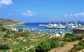 Preview wallpaper Malta, Gozo, island, boats, dock, yachts, sea