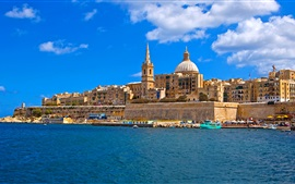 Preview wallpaper Malta, island, sea, coast, houses, boats, blue sky