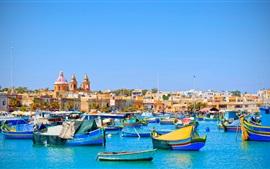 Мальта, море, лодки, дома, голубое небо, путешествия место