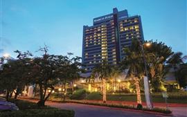 Marco Polo Hotel em Cebu, noite, luzes, Filipinas