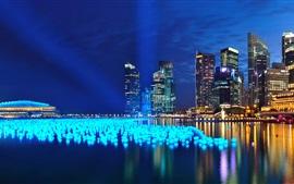 Marina Bay, Singapura, noites, luzes, arranha-céus