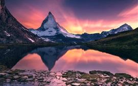 Matterhorn, belo pôr do sol paisagem, montanha, lago, reflexão da água