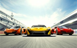 Preview wallpaper McLaren P1 and MP4-12C supercars, high speed, front view