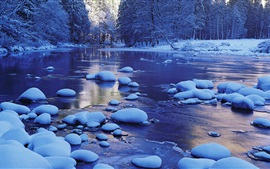 Preview wallpaper Merced River, snow, winter, Yosemite National Park, California, USA