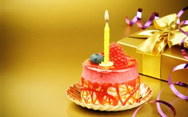 Preview wallpaper Mini Birthday cake, candle, strawberry, gift