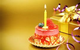 Aperçu fond d'écran gâteau Mini anniversaire, bougie, fraise, cadeau