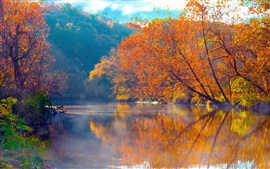 Preview wallpaper Mountains, river, trees, fog, morning, beautiful autumn