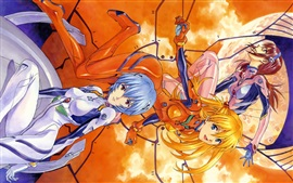 Preview wallpaper Neon Genesis Evangelion, happy anime girls