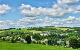 Preview wallpaper Neuhausen Erzgebirge, Germany, town, trees, field, clouds