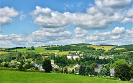 Neuhausen Erzgebirge, Alemanha, cidade, árvores, campo, nuvens