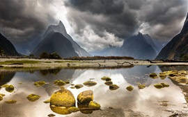 Preview wallpaper New Zealand beautiful landscape, mountains, clouds, lake, stones