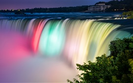 Preview wallpaper Niagara Falls beautiful colors, night, Canada