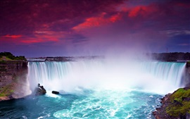 Preview wallpaper Night view Niagara Falls, beautiful waterfalls, dusk, blue water, Canada