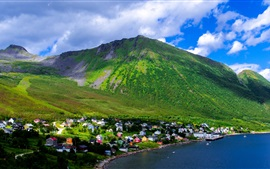 Preview wallpaper Norway, mountains, sky, clouds, village, house, trees, bay