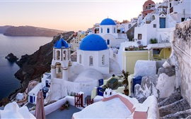 Preview wallpaper Oia, Santorini, Greece, sea, houses