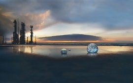 Preview wallpaper Oil exploration tower, sunset, sea, stone sphere