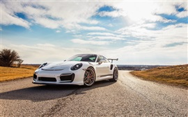Preview wallpaper Porsche 911 Turbo V-RT white supercar