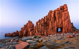 Preview wallpaper Rock window, desert, Sardinia, stones, coast, sea
