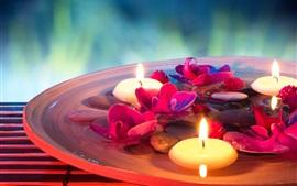 Aperçu fond d'écran SPA à thème, des bougies, des fleurs, des pierres, de l'eau