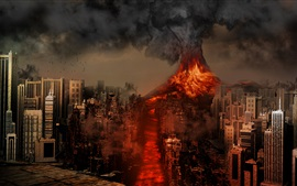 Preview wallpaper Sakurajima Volcano, Japan, disaster, lava, city destroy, creative design