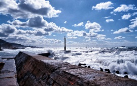 Sea, pier, waves, clouds, Sakhalin Island