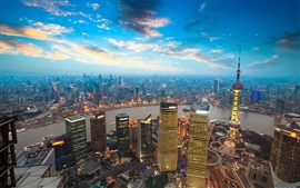 Preview wallpaper Shanghai, China, city, tower, skyscrapers, river, dusk, lights