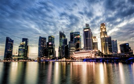 Singapore, city view, sunset, skyscrapers, clouds, river, water reflection