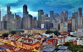 Horizonte de Singapur paisaje, rascacielos, puesta del sol