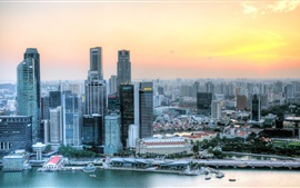 Preview wallpaper Singapore, skyscrapers, river, roads, sunset