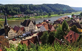 Preview wallpaper Stadt Wehlen, River Elbe, town, Saxony, Germany