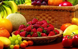 Preview wallpaper Still life, fruits, strawberries, tomatoes, kumquats, cantaloupe, bananas, grapes