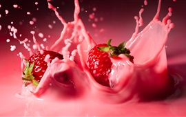 Preview wallpaper Strawberries juice, berries, pink, splash