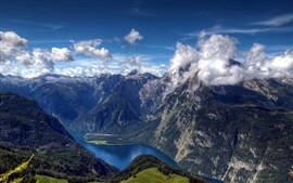 Preview wallpaper Summer Alps, mountains, river, forest, clouds