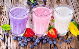 Summer drinks, milkshake, colorful, blueberries, strawberries, banana