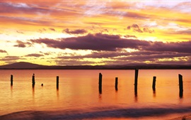 Preview wallpaper Sunrise, red sky, Bridport, northeastern Tasmania, Australia