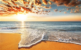 Preview wallpaper Sunset beach, sands, sea, waves, clouds, beautiful landscape