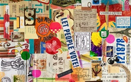 Preview wallpaper Ticket, stamp, letter, colors, creative art