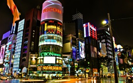 Tokyo, Japan, beautiful city night, buildings, shops, streets, lights