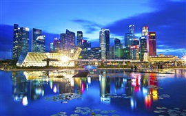 Travel city, Singapore, beautiful night, lights, skyscrapers, lake, reflection