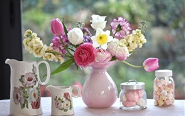 Preview wallpaper Tulips, carnations, daffodils, flowers, vase, bouquet, cups