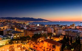 Preview wallpaper Turkey, Izmir, night, houses, sea, coast, lights